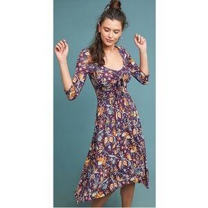 💰Maeve Anthro long sleeve floral print maxi dress